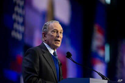 Democratic presidential candidate and former New York City Mayor Mike Bloomberg speaks at the the American Israel Public…