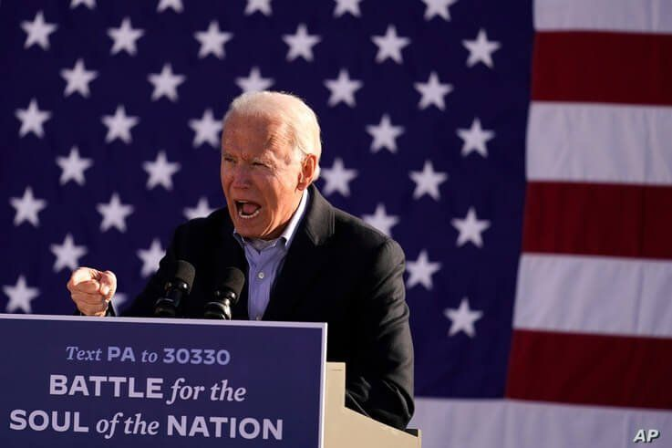 Democratic presidential candidate former Vice President Joe Biden speaks at a rally at Community College of Beaver County, Nov. 2, 2020, in Monaca, Pennsylvania.