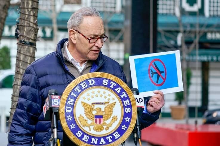 Senate Minority Leader Chuck Schumer, D-N.Y., speaks to reporters during a news conference, Tuesday, Jan. 12, 2021, in New York…