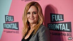 """Samantha Bee, host of """"Full Frontal with Samantha Bee,"""" poses at an Emmy For Your Consideration screening of the television talk show at the Writers Guild Theatre, May 24, 2018, in Beverly Hills, Calif."""