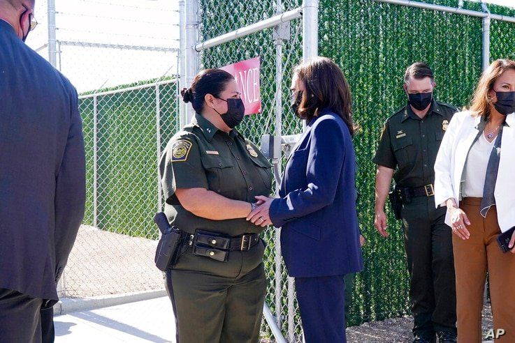 Vice President Kamala Harris talks to Gloria Chavez, Chief Patrol Agent of the El Paso Sector, as she tours the U.S. Customs…