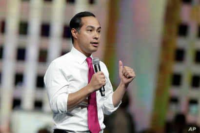 Democratic presidential candidate former U.S. Secretary of Housing and Urban Development Julian Castro speaks during the Iowa Democratic Party's Liberty and Justice Celebration, Nov. 1, 2019, in Des Moines, Iowa.