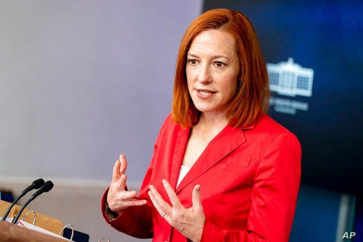 White House press secretary Jen Psaki speaks during a press briefing at the White House, Thursday, March 11, 2021, in…