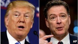 This combination photo shows President Donald Trump speaking during a roundtable discussion in White Sulphur Springs, West Virginia, April 5, 2018, left, and former FBI director James Comey speaking during a Senate Intelligence Committee hearing on Capitol Hill in Washington on June 8, 2017.