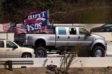 Trump vehicle caravan travels down highway in California