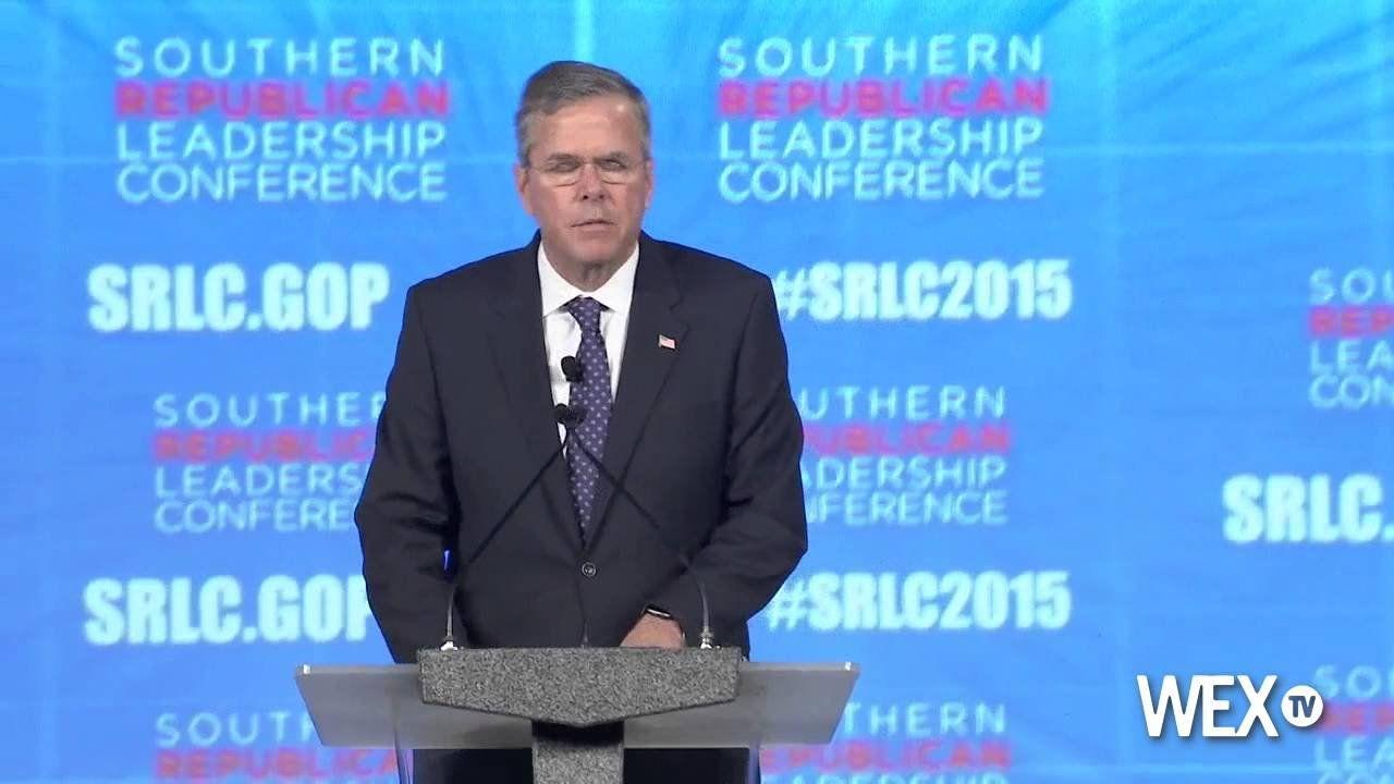 Jeb Bush speaks to the crowd at SRLC in Oklahoma City