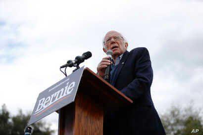Democratic presidential candidate Sen. Bernie Sanders, I-Vt., speaks during a campaign event, Feb. 28, 2020, in S.C.