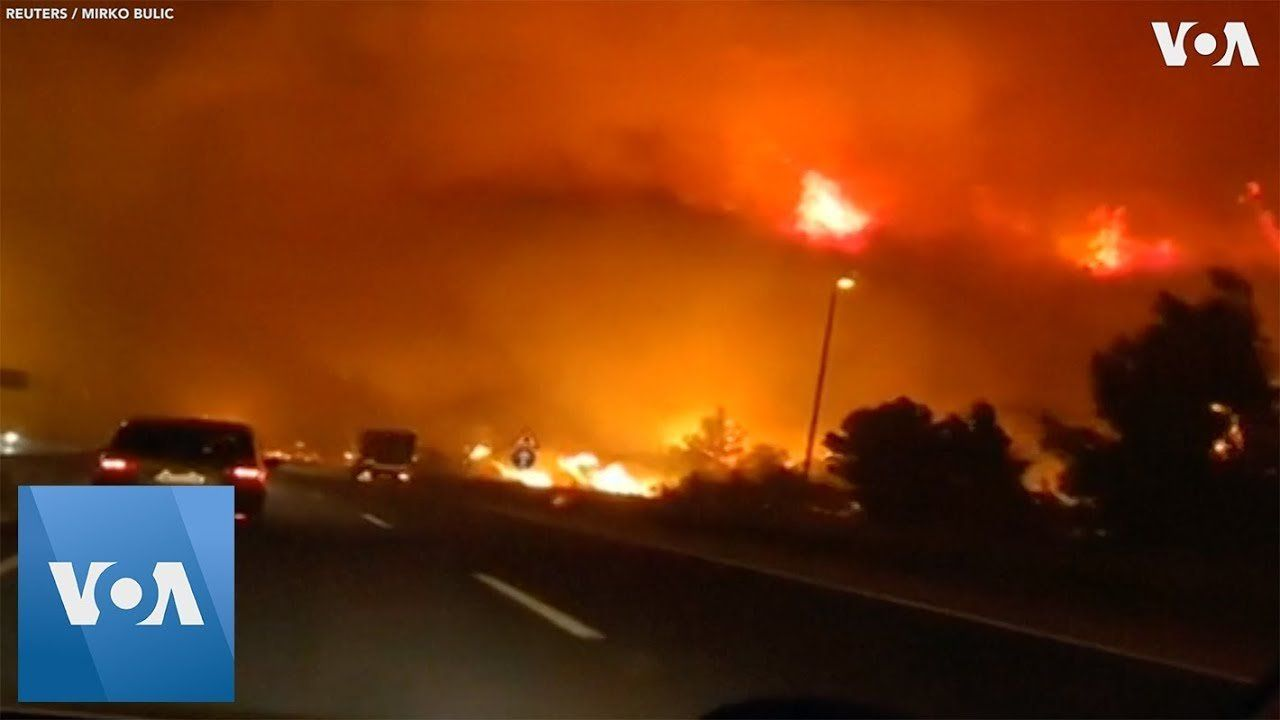Dramatic Video Shows Wildfires Next to Road in Croatia