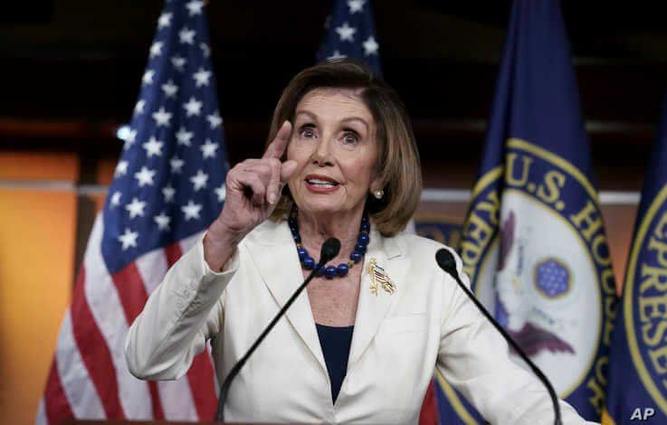 Speaker of the House Nancy Pelosi, D-Calif., meets with reporters at her weekly news conference at the Capitol in Washington