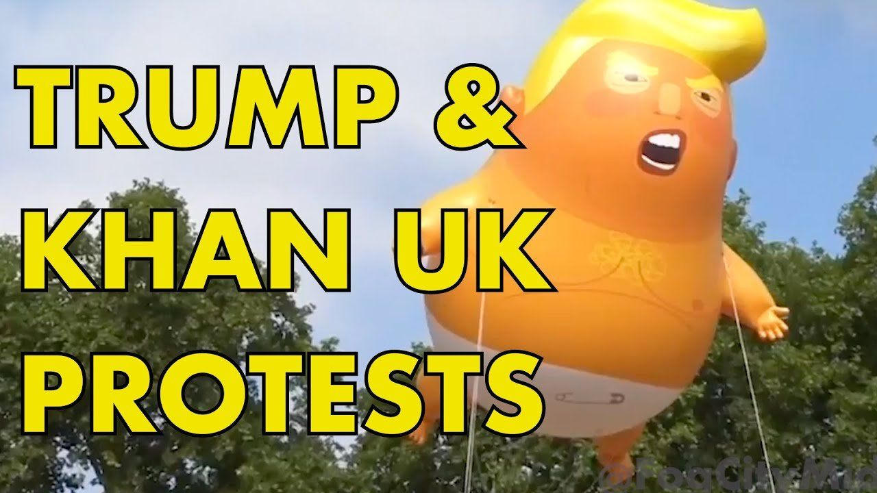"""Londoners React To Trump & Khan """"Balloon Protests"""""""