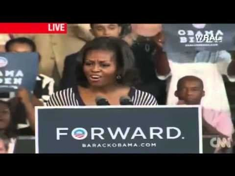 """A fired up Michelle Obama chants """"Forward!"""" at campaign rally"""