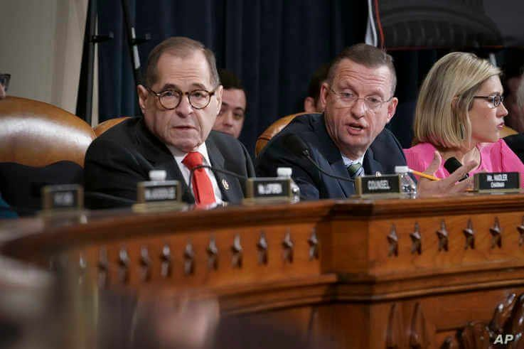 House Judiciary Committee Chairman Jerrold Nadler, D-N.Y., left, joined by Rep. Doug Collins, R-Ga., the ranking member