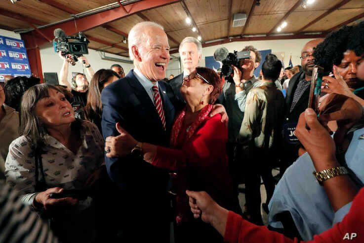 Democratic presidential candidate, former Vice President Joe Biden, greets supporters at a campaign event in Columbia, S.C.,…