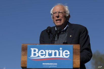 Democratic presidential candidate Sen. Bernie Sanders speaks to supporters during a rally, in New York, Oct. 19, 2019.